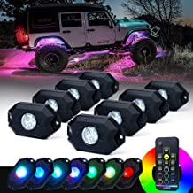 9W Neon LED Lamps for Jeep Off Road Truck Car ATV SUV Vehicle Boat Underbody Glow Trail Rig Waterproof GZYF 8 Pods RGB LED Rock Lights Kit W//Bluetooth Control Timing Function Music Mode Flashing