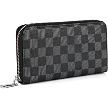 d9419ca38db9ef Daisy Rose Women's Checkered Zip Around Wallet and Phone Clutch - RFID  Blocking with Card Holder