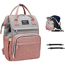 iSPECLE Multifunctional Unisex Diaper Bag Organizer Large Capacity Baby Bags with Bottle Warmer Heating Insulated Pockets Stroller Straps and USB Charging Port Diaper Bag Backpack