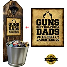A Must for the Mancave or Garage! 100/% Solid Pine 3//4 Thick Airborne Bottle Opener and Cap Catcher Rustic Cast Iron Bottle Opener and Galvanized Bucket Handcrafted by a Vet