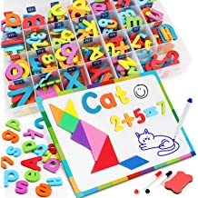 White, 1 inch Black and White ABC Magnets for Refrigerator Petal Lane Home Magnetic Alphabet Letters 169 Pcs Foam Magnetic Letters and Numbers Learning Letters for Kids