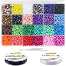 7mm, 400 Per Color, 24 Colors EuTengHao 9600pcs Pony Tube Beads Kit Glass Bugle Seed Beads Small Craft Beads for DIY Bracelet Necklaces Crafting Jewelry Making Supplies with Two Crystal String
