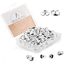 BEADNOVA Sterling Silver Earring Backs Soft Clear Silicone Secure Earring Backings for Droopy Ear Safety Pierced Earring Back for Posts Large Earing Backs Lifters Replacements Hypoallergenic 6pcs