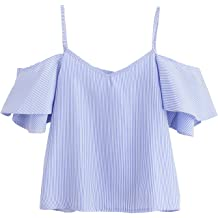 cf23115c46 SheIn Women's Cute V Neck Cold Shoulder Short Sleeve Strappy Top Blouse
