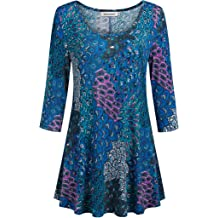 77d48bed50bb9d Nandashe Womens 3/4 Sleeves Floral Tunic Shirts Summer Casual Dressy Blouse  Tops